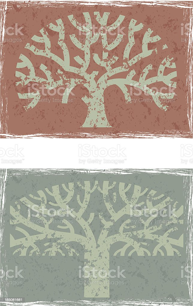 Two grunge trees royalty-free stock vector art