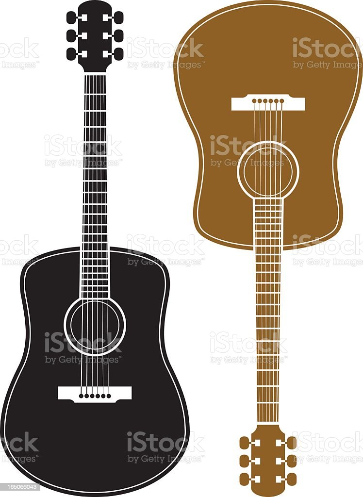 Two guitars on a white background vector art illustration