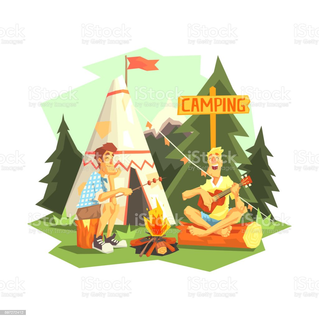 Two Guys Enjoying Camping In Forest royalty-free two guys enjoying camping in forest stock vector art & more images of adult