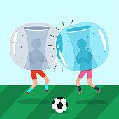 Bubble ball soccer, zorb vector.