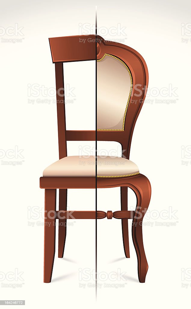 Two half chairs divided royalty-free stock vector art