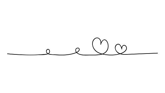 Two hand drawn doodle hearts. Continuous line art drawing.
