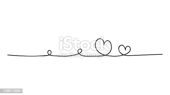 istock Two hand drawn doodle hearts. Continuous line art drawing. 1299115591