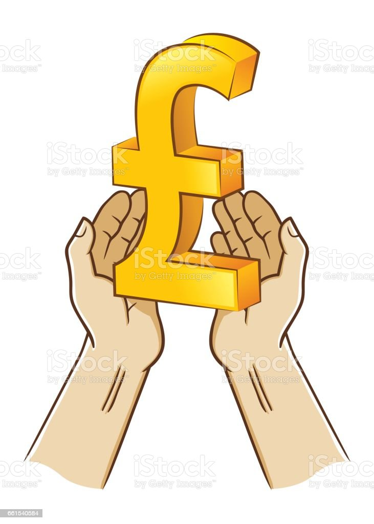 Two Hand Holding Pound Sterling Currency Symbol Stock Vector Art