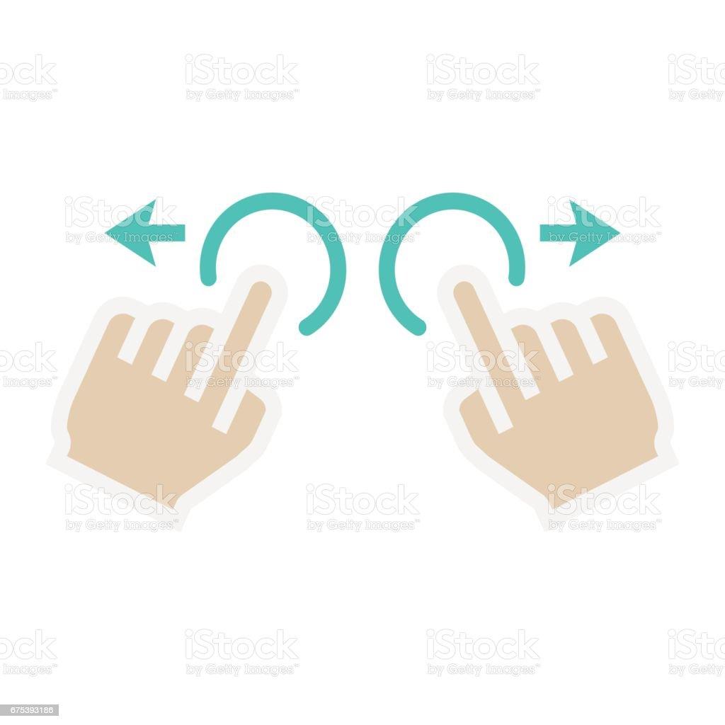 Deux mains zoom en icône plate, de toucher et de mouvement deux mains zoom en icône plate de toucher et de mouvement – cliparts vectoriels et plus d'images de azerbaïdjan libre de droits