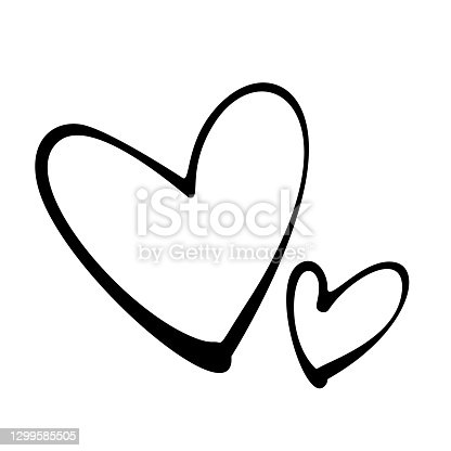 istock Two hand-drawn heart icons. Black stroke on white background. 1299585505