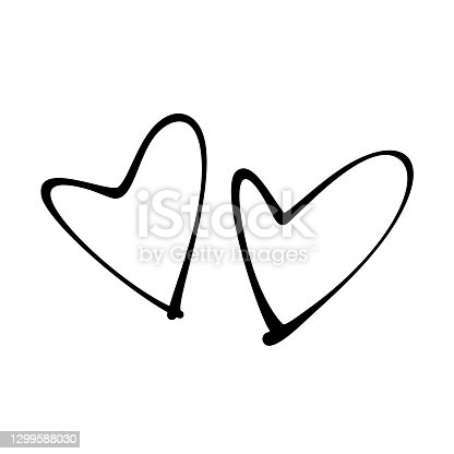 istock Two hand-drawn heart icons. Black stroke on white background. 1299588030