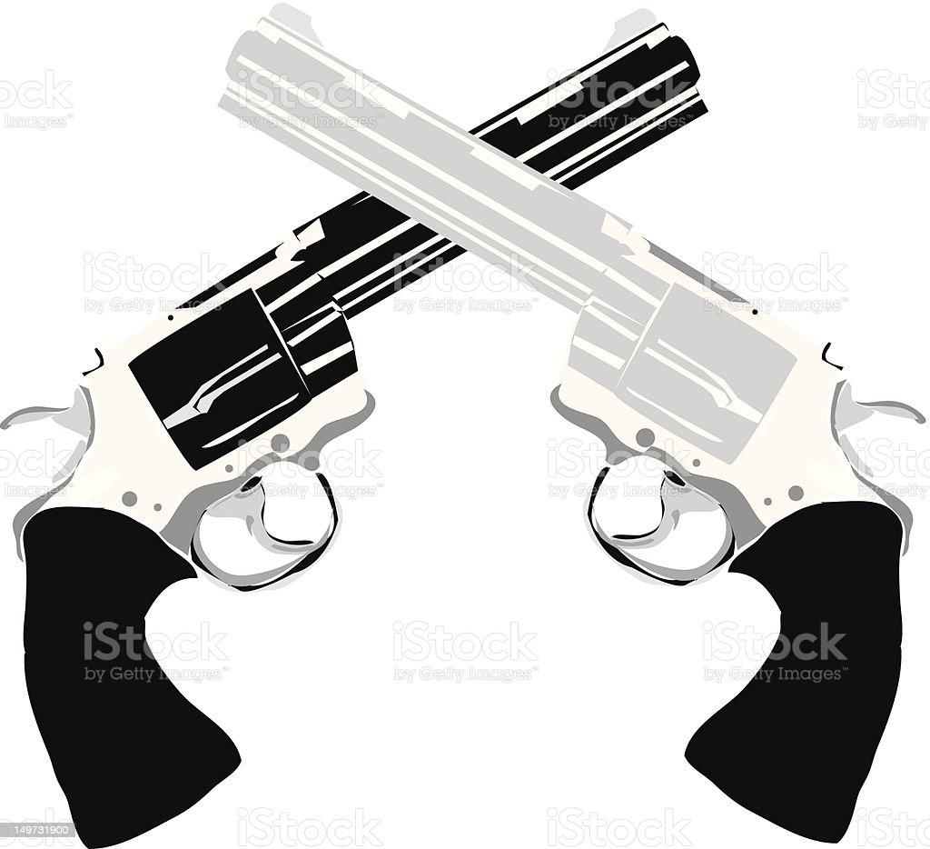 Two Handguns Pistols royalty-free stock vector art
