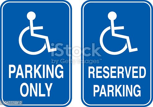 Vector illustration of two handicapped parking signs.