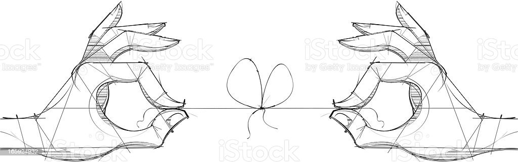 Two Hands & a Knot vector art illustration