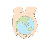 Two hands holding planet Earth isolated vector