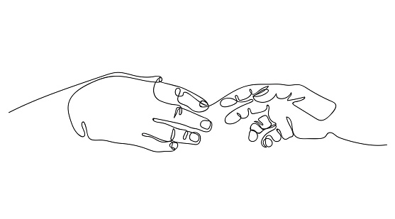 Two hands are drawn to each other. One line drawing. Continuous line.