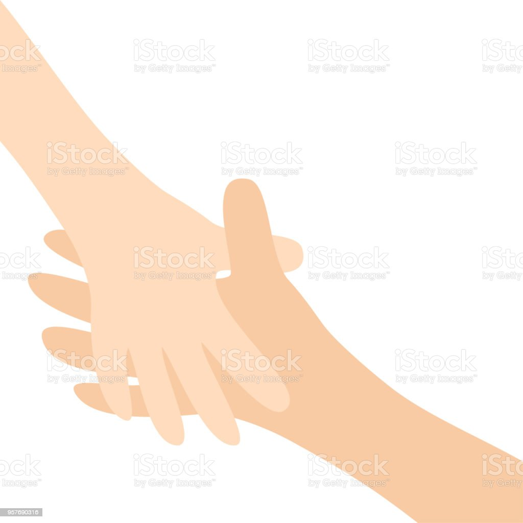 Two hands arms reaching to each other. Handshake. Happy couple. Mother and child. Helping hand. Close up body part. Baby care. White background. Isolated. Flat design vector art illustration