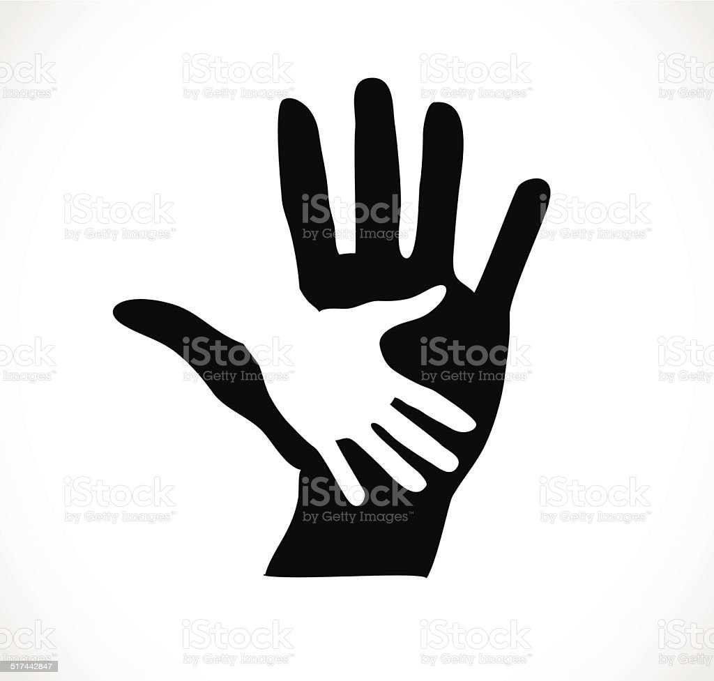 Two hands black and white vector art illustration