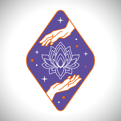 Two Hands Blooming Lotus and Stars on Violet Background Emblem