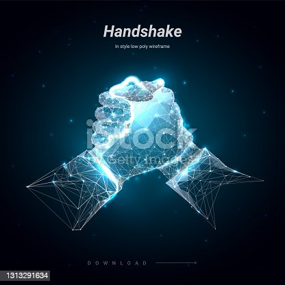 istock Two hands. Brotherly handshake. Abstract illustration isolated on blue background. Low poly wireframe. Plexus lines and points in silhouette. Hi-tech 3d illustration 1313291634