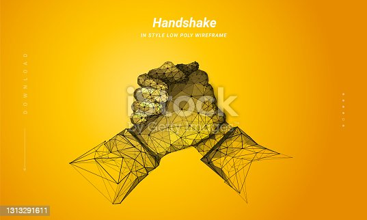 istock Two hands. Brotherly handshake. Abstract illustration isolated on orange background. Low poly wireframe. Gesture hands. Business symbol. Plexus lines and points in silhouette. Hi-tech 3d illustration 1313291611