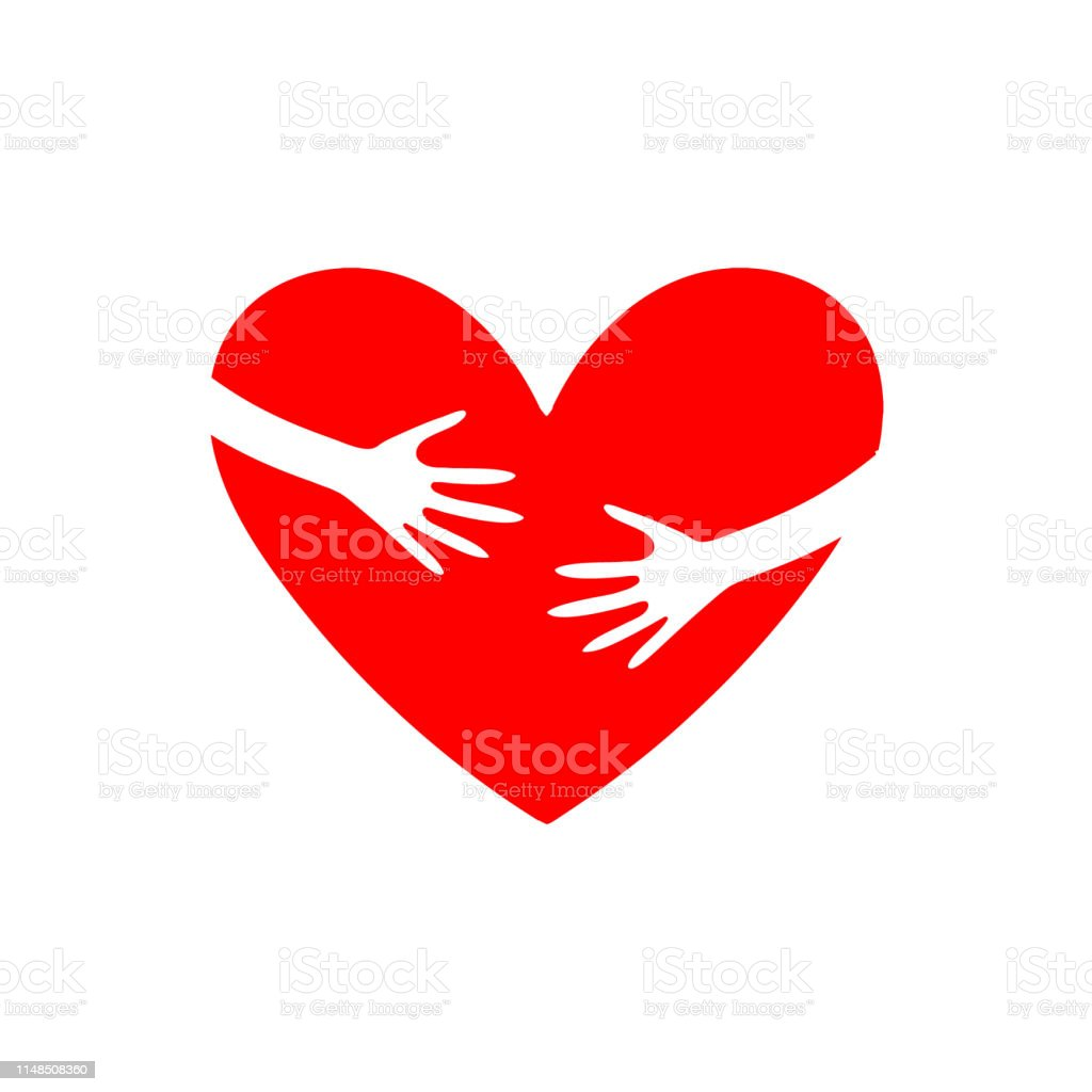 Two Hands Embrace The Heart Template For World Hug Day Or
