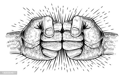 istock Two Hands Fist Bump Punch Woodcut Fists 1305304511