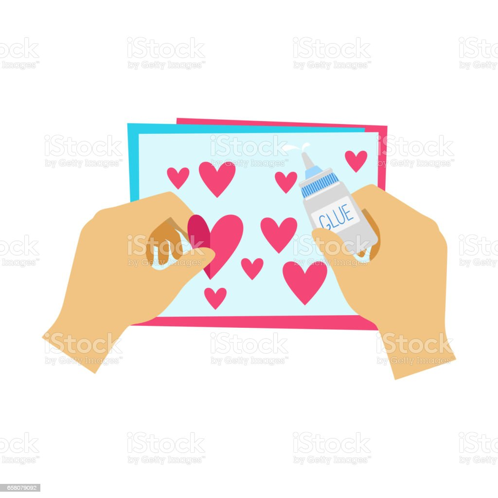 Two Hands Gluing Hearts To Paper Postcard, Elementary School Art Class Vector Illustration royalty-free two hands gluing hearts to paper postcard elementary school art class vector illustration stock vector art & more images of art