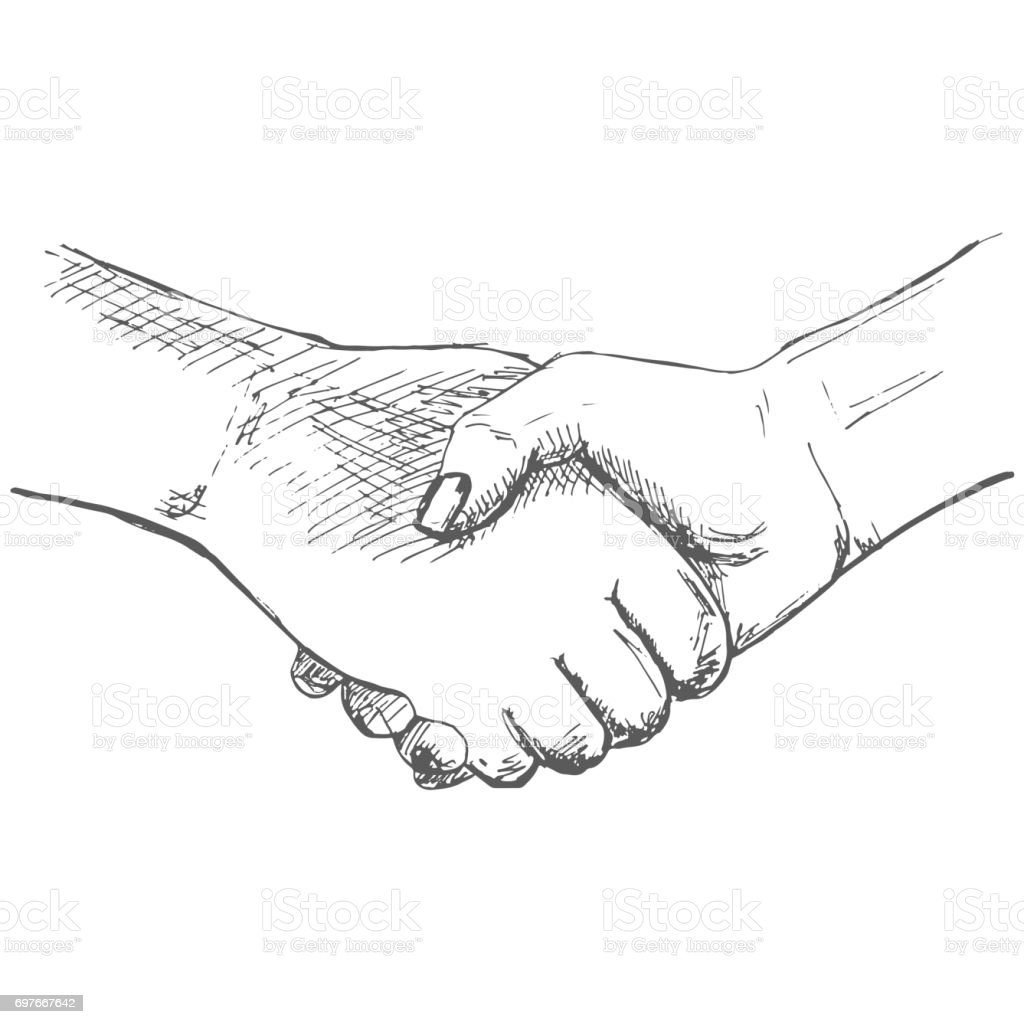 Two Hands Handshake Illustration In Sketch Style Hand ...