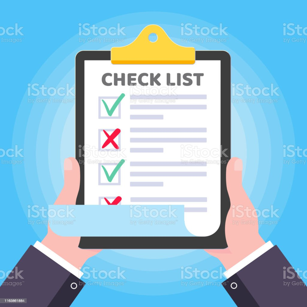 Two hands hold clipboard with check list claim form on it, paper...