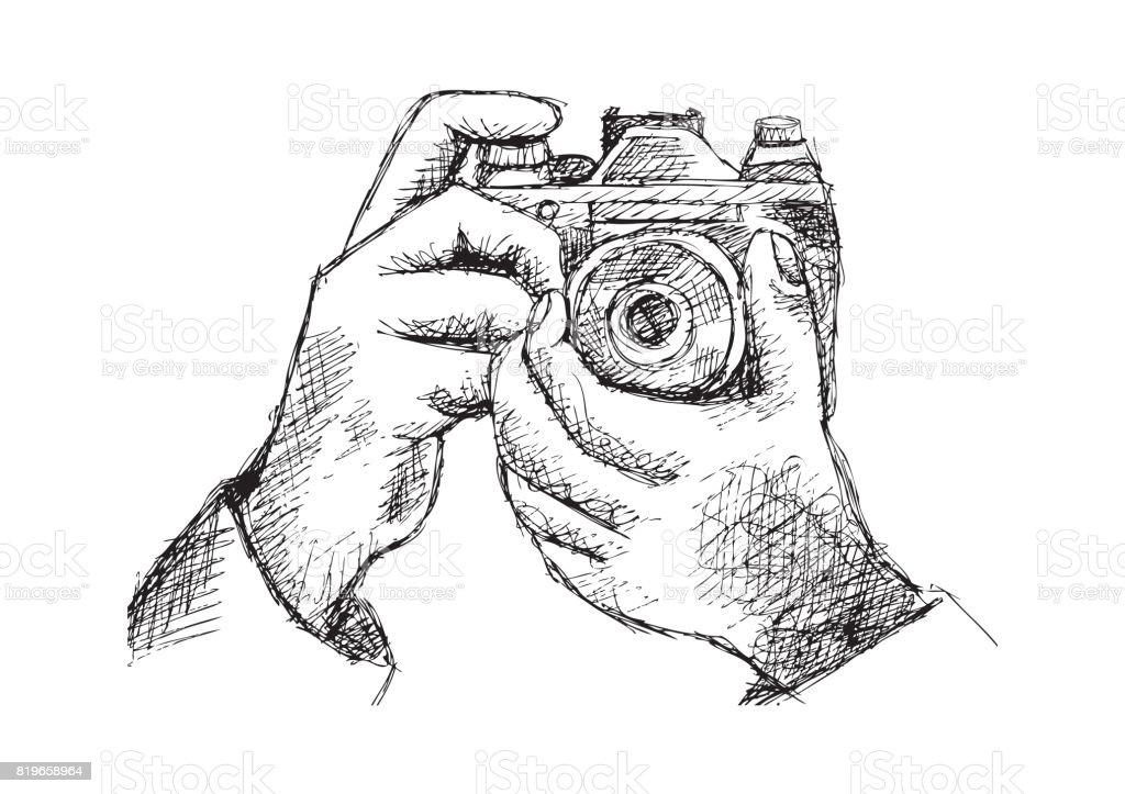 deux mains tenant un appareil photo illustration dessin de main cliparts vectoriels et plus d. Black Bedroom Furniture Sets. Home Design Ideas