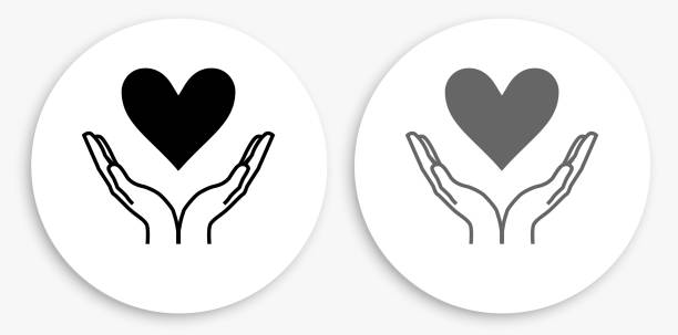 Two Hands Holding a Heart Black and White Round Icon vector art illustration