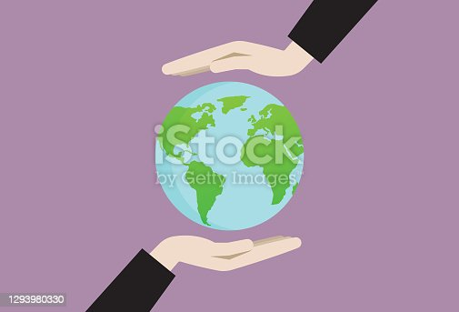 istock Two hands holding an earth symbol 1293980330