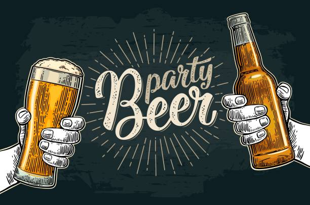 Two hands holding and clinking with beer glasses and bottle Two male hands holding and clinking glass and bottle. Beer party calligraphic handwriting lettering. Vintage vector color engraving illustration for invitation. Isolated on dark background. beer stock illustrations