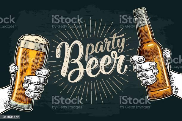 두 손 들고 병 맥주 안경와 부딪치는 검은색에 대한 스톡 벡터 아트 및 기타 이미지