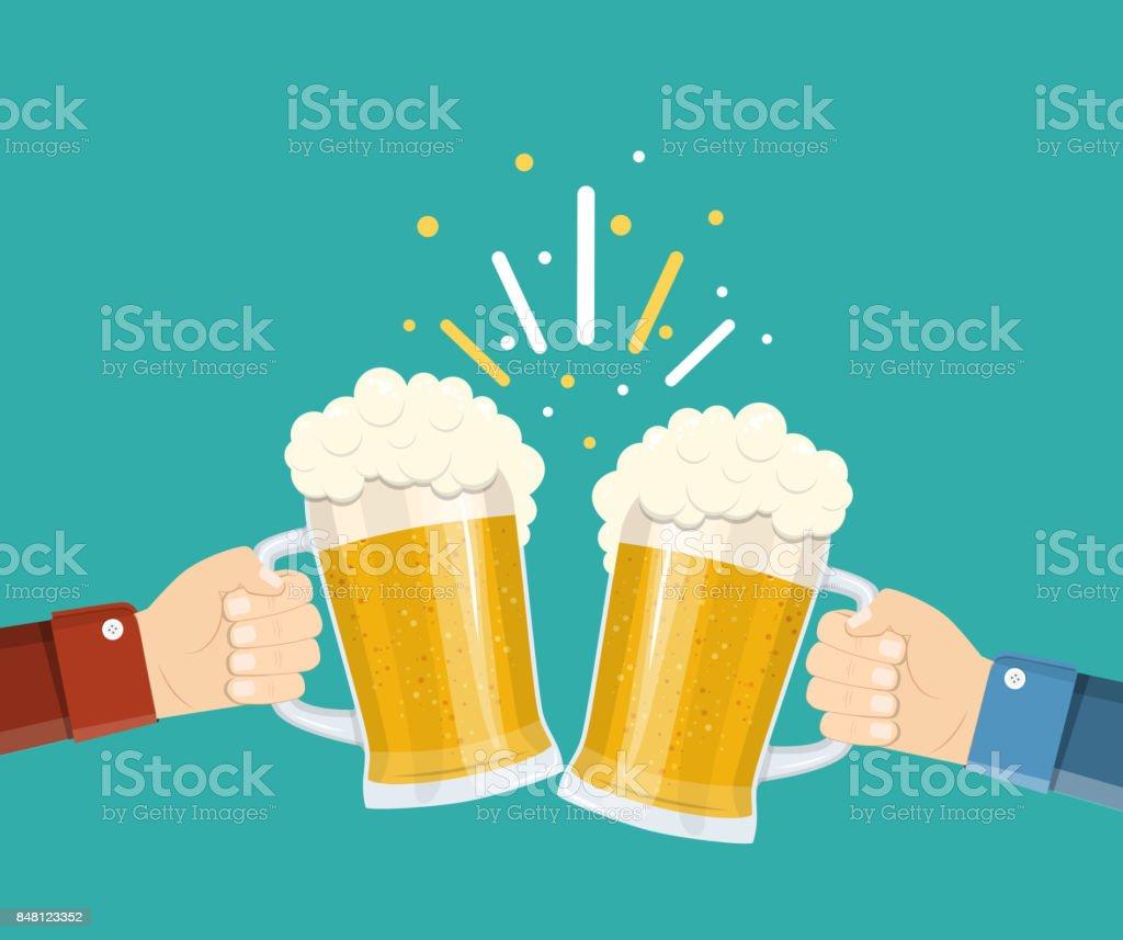 Zwei Hände halten Biergläser. – Vektorgrafik