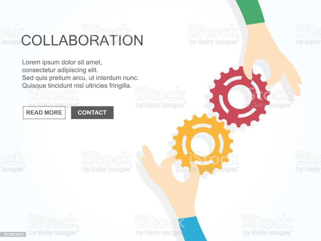 Zwei Hände halten Zahnräder zusammen. Teamarbeit, Partnerschaft, Wirtschaft, Zusammenarbeit und Management Konzept. – Vektorgrafik