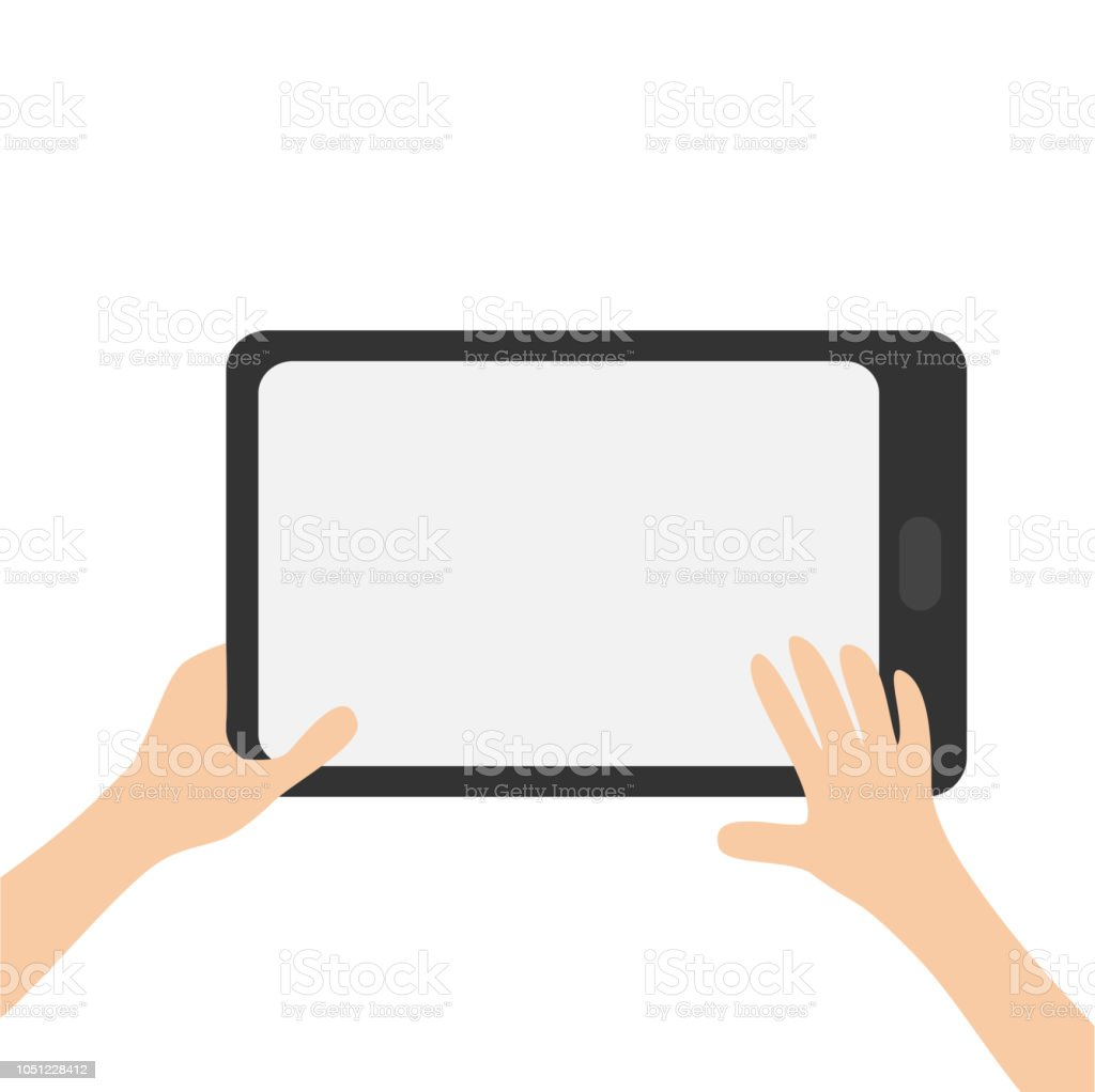 Two hands holding genering tablet PC gadget. Searching concept. Male female teen hand and black Tab with blank screen. Empty space template for text. Flat design. White background. Isolated. vector art illustration