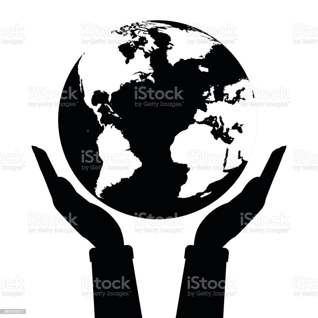 deux mains tenant globe terrestre couleur noir et blanc illustration vectorielle amour et. Black Bedroom Furniture Sets. Home Design Ideas