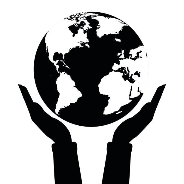 Two hands holding globe earth black and white color. Vector illustration  love and save earth concept design. vector art illustration