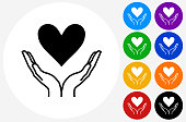 Two Hands Holding a Heart Icon on Flat Color Circle Buttons. This 100% royalty free vector illustration features the main icon pictured in black inside a white circle. The alternative color options in blue, green, yellow, red, purple, indigo, orange and black are on the right of the icon and are arranged in two vertical columns.