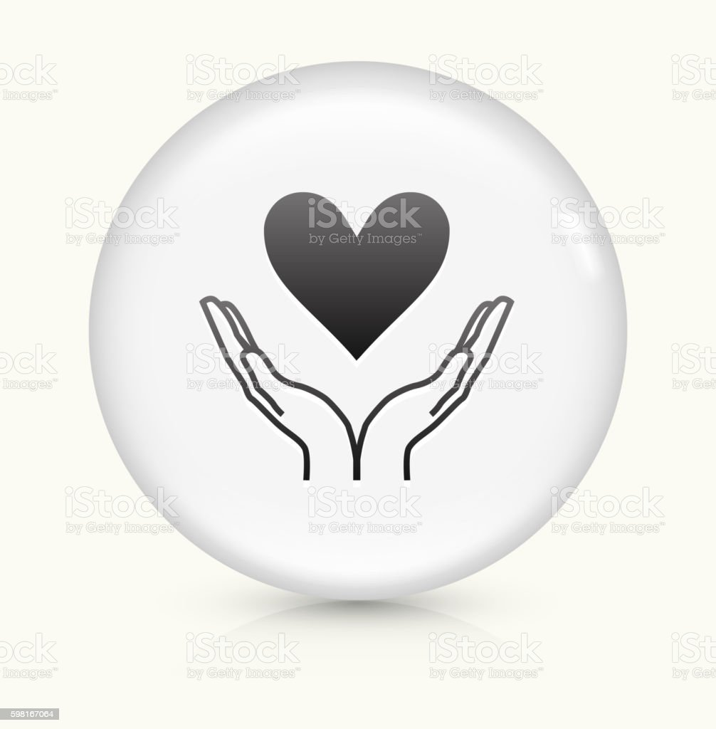 Two Hands Holding Heart Icon On White Round Vector Button Stock