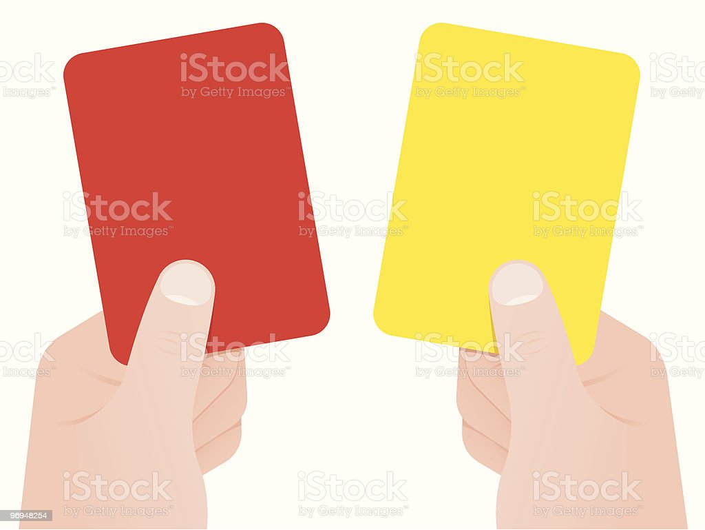 Two hands holding red and yellow card royalty-free two hands holding red and yellow card stock vector art & more images of art and craft