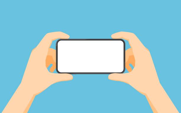 Zwei Hände halten Smartphone in Landschaftssicht-Position – Vektorgrafik