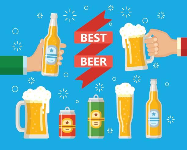 Zwei Hände halten die Bierflasche und Bierglas – Vektorgrafik