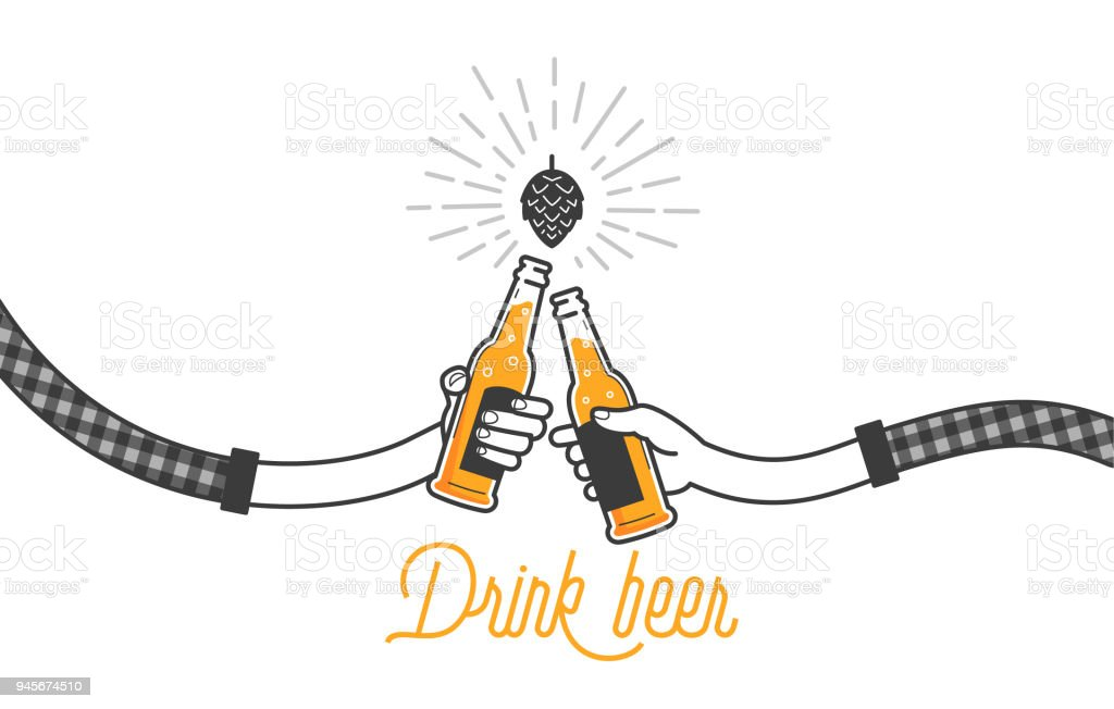 Two hands holding two beer bottles. Clinking glasses in plaid shirt. Party celebration in a pub. Isolated vector illustration of two drunk person drinking beer on white background. Cheers mate - illustrazione arte vettoriale