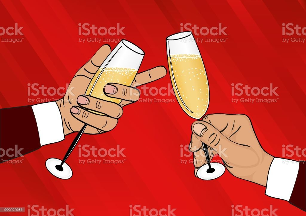 two hands holds a glass of champagne and clink merry christmas and a happy new