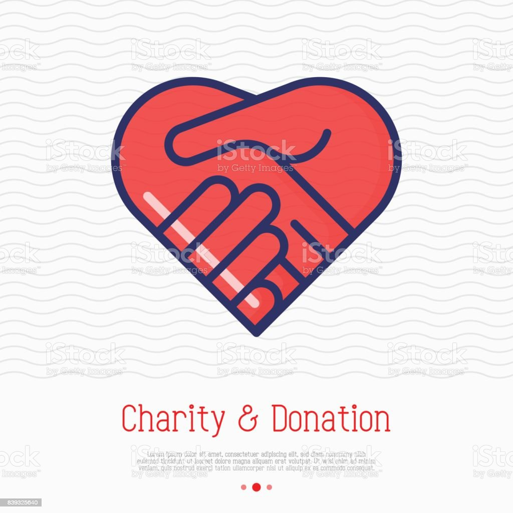 Two hands in shape of heart thin line icon. Handshake, symbol of kindness, donation and charity. Vector illustration. vector art illustration