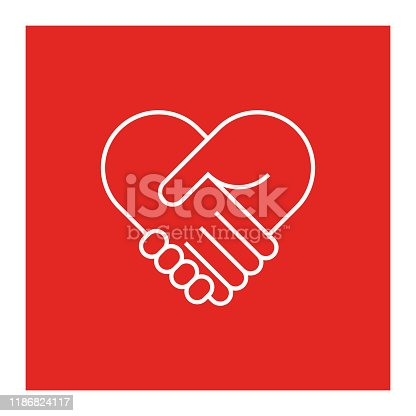 istock Two hands in shape of heart 1186824117