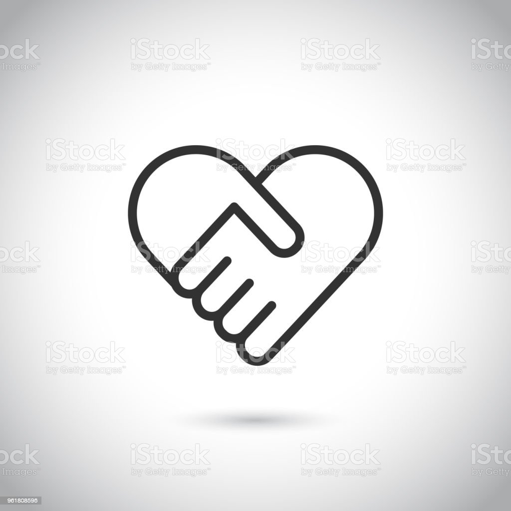 심장의 모양에 두 손입니다. 벡터 현대 얇은 선 아이콘입니다. - 로열티 프리 2명 벡터 아트