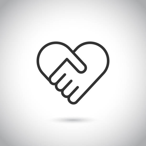 two hands in shape of heart. vector modern thin line icon. - serce symbol idei stock illustrations