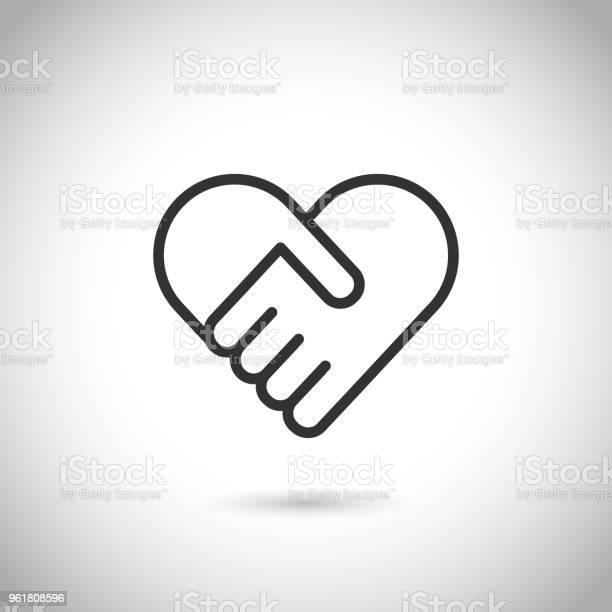 심장의 모양에 두 손입니다 벡터 현대 얇은 선 아이콘입니다 2명에 대한 스톡 벡터 아트 및 기타 이미지