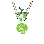 two hands of the children planting green globe and tree for saving environment nature conservation, ecology concept. vector illustration isolated on white background