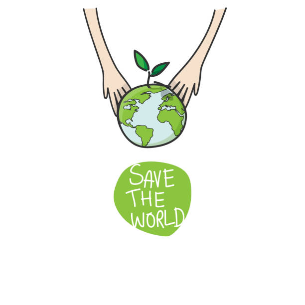 ilustrações de stock, clip art, desenhos animados e ícones de two hands of the children planting green globe and tree for saving environment nature conservation, ecology concept. vector illustration isolated on white background - green world